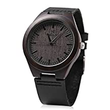 REDEAR Mens Quartz Bamboo Watch Wooden Leather Band Water Resistance Analog Display Wristwatch (Ebony)