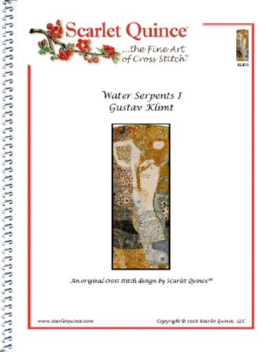 (Scarlet Quince KLI015 Water Serpents I by Gustav Klimt Counted Cross Stitch Chart, Regular Size Symbols)