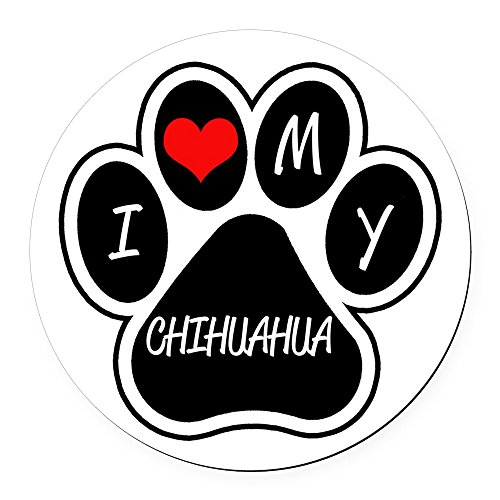 CafePress - I Love My Chihuahua Round Car Magnet - Round Car Magnet, Magnetic Bumper Sticker