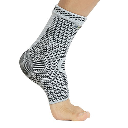 Neotech Care Ankle Support Sleeve – Bamboo Fiber Knitted Fabric – Light, Elastic & Breathable – Medium Compression – for Sports, Exercise, Gym – Right or Left Foot, Men, Women – Grey Color (Size L)
