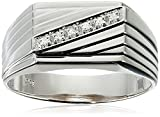 Men's 10k White Gold Diagonal Diamond Ring, (0.03 cttw, I-J Color, I2-I3 Clarity) Size 10