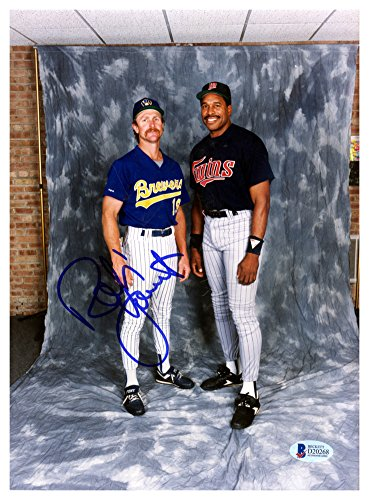 Robin Yount Autographed Signed 8x11 Photo Milwaukee Brewers With Dave Winfield - Beckett Authentic