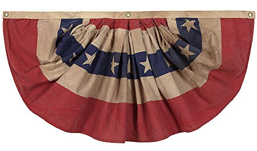 (Valley Forge, Bunting Banner, Cotton 1.5' x 3', 100% Made in USA, Heritage Series, Antiqued Striped Mini Bunting with Stars)