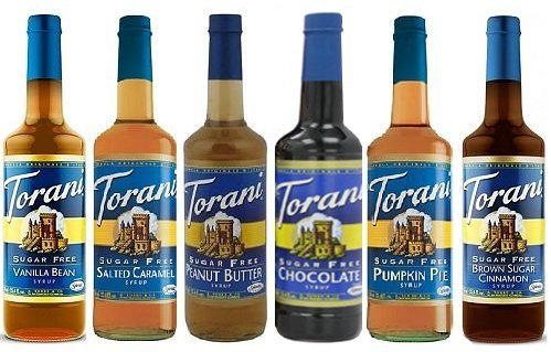 Torani Winter SugarFree Syrup 6 Pack, Pumpkin Pie, Chocolate, Salted Caramel, Peanut Butter, Brown Sugar Cinnamon, Vanilla Bean
