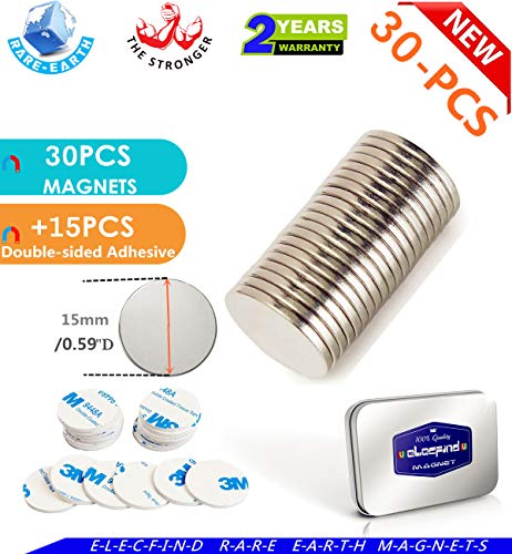 MAGNETS 30PACK 15mmX2mm For Refrigerator Magnets Decoration Office Kitchen Refrigerator Magnets Fridge Magnets Whiteboard Magnets Dry Erase Board