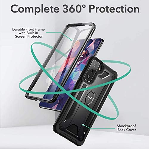 YOUMAKER Compatible with Galaxy S21 Plus Case with Built-in Screen Protector Kickstand Full Body Shockproof Rugged Cover for Samsung Galaxy S21 Plus 6.7 inch-Black