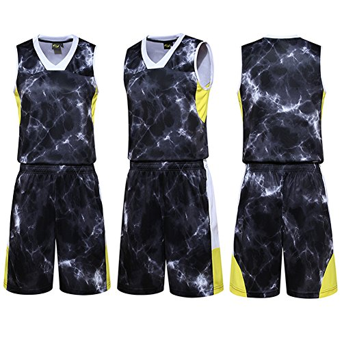 LifeSport2U Camouflage Youth Basketball Uniforms Jerseys School Students Team Sportwear Tracksuits Boys Sport Trainning Suit Sets (S, Burst Dark Grey Black)