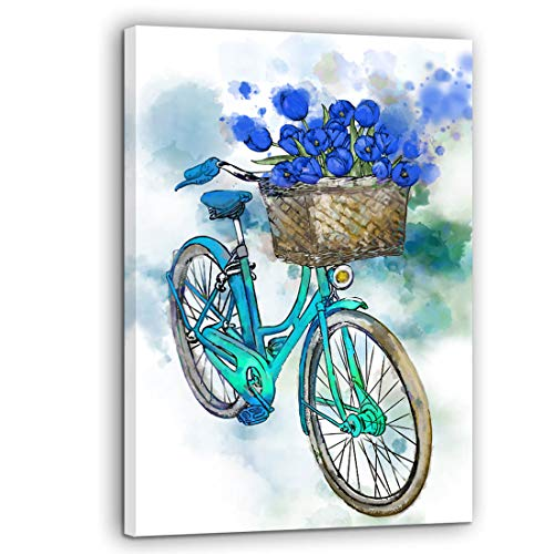 (Bedroom Decor Canvas Wall Art Vintage Bicycle Blue Flower Tulip Floral Picture Wall Decoration Framed Artwork Wall Decor for Bathroom Kitchen Still Life Bike Vehicle Themed Canvas Prints Size 12x16)