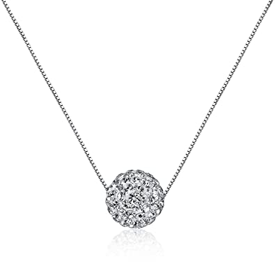Amazon cishop s925 sterling silver chain full diamond crystal cishop s925 sterling silver chain full diamond crystal ball sparkle colla pendant necklace for women aloadofball Images