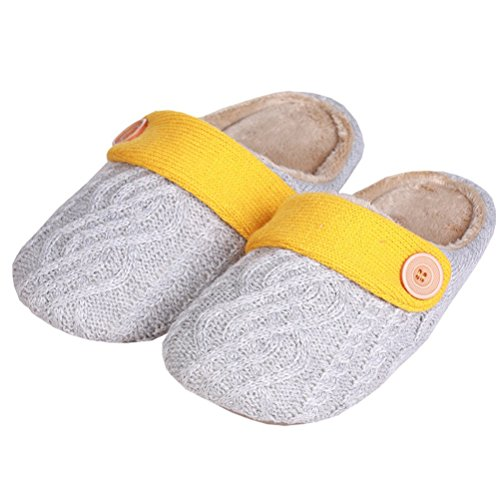 YUTIANHOME Men's Slippers Knitted Cotton Washable Soft Warm Non-Slip Flat Closed Toe Indoor Home Bedroom Shoes Grey/Yellow 5YEYOIvf