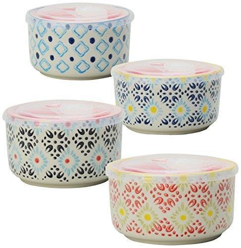 Signature Housewares Print 8 Storage Bowls, 6-Inch, Multicolor, Set of 4
