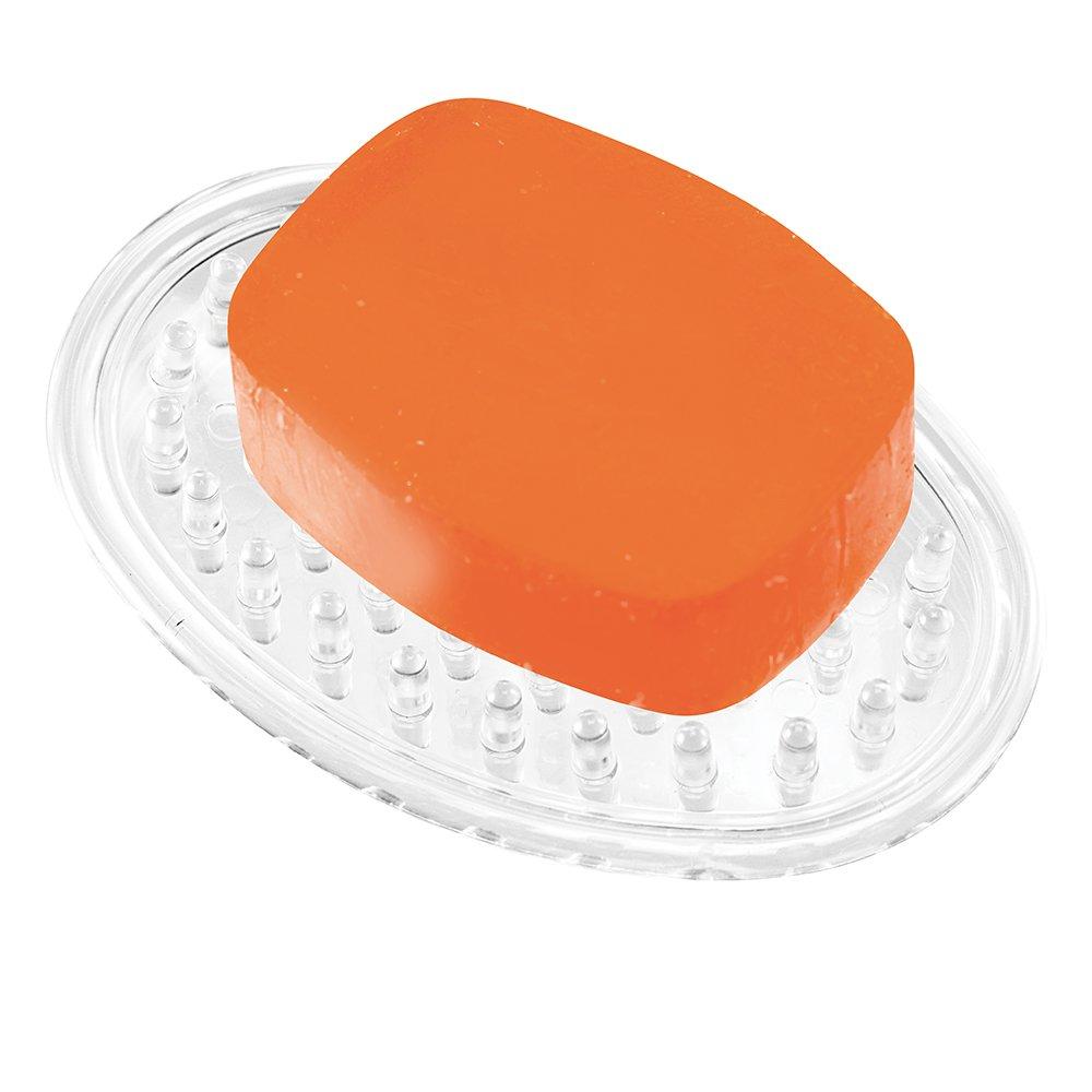 ovale Seifenschale aus Kunststoff InterDesign Soap Savers Seifenablage durchsichtig -P 3er-Set Seifenhalter