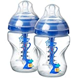 Tommee Tippee Advanced Anti-Colic, Decorated Feeding Bottles, 9 Oz, 2 Ct, Blue, Boy