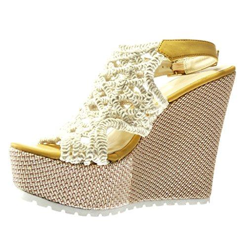 Angkorly - Chaussure Mode Sandale Mule plateforme femme crochet brodé tréssé Talon compensé plateforme 13 CM - Jaune