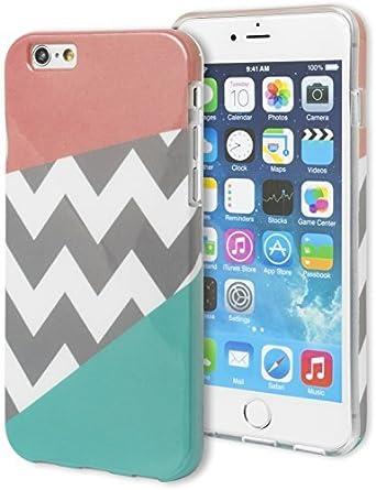 Coque iPhone 6 , Bastex Heavy Duty Snap On Housse de protection – Tri Chevron Rose et bleu sarcelle Motif Coque rigide pour Apple iPhone 6 Plus, 14 ...