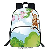 "SCOXIXI Laptop Backpack Monkey Swinging with The Kid Baby Clothes Chimpanzee Jungle Joy Togetherness (15.75""x11.81""x6.3"") 3D Print Customizable Multicolor for Boys&Girls Mens Sport Daypack"