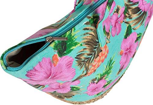 una Turchese spalla Base borsa Zip con TipoLady ibiscoraffia di 02012233Giallo colorata spiaggia Stylebreaker da stampa 0n8wvmN