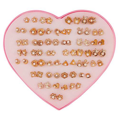 Shining Diva Fashion Latest 36 Pairs Combo Set Heart Box Design Stud Earrings for Girls (Golden) (12023er)