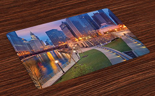 Ambesonne Chicago Skyline Place Mats Set of 4 by, Cityscape Urban Scene Waterfront Illuminated at Twilight Blue Hour Image, Washable Placemats for Dining Room Kitchen Table Decoration, Multicolor