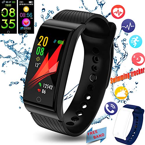 Fitness Tracker, 2018 Activity Tracker with Swimming Heart Rate Blood Pressure Monitors Bluetooth Sleep Monitor Weather Sport SMS SNS Reminder for iOS Android Phones Men Women Kids