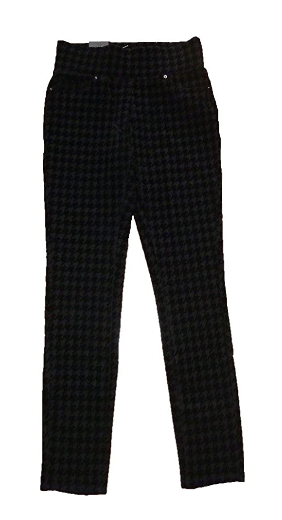 Nanette Lepore Womens Houndstooth Patterned Flocked Pull On Jeggings
