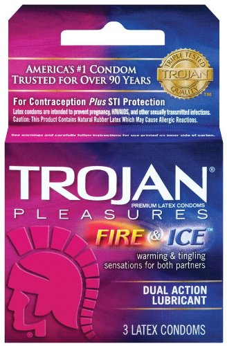 Trojan Pleasure Fire & ICE Dual Action Ultrasmooth Lubricated Premium Latex Condoms - 6 Travel Packs 3 Condoms in Each Pack (18 Condoms Total) -Tj12 by Trojan (Image #3)