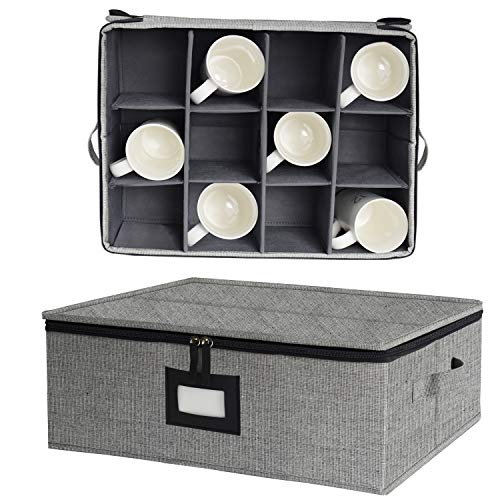 China Cup Storage Chest, Mug Storage Box with Lid and Handles, Holds 12 Coffee M | eBay