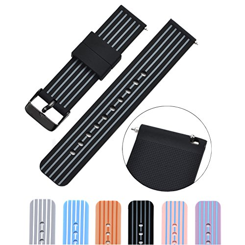 MLQSS Soft Silicone Watch Band with Quick Release Pins - Choice Color & Width (18mm, 20mm or 22mm) Watch Straps w/Adjustable Metal Clasp ()