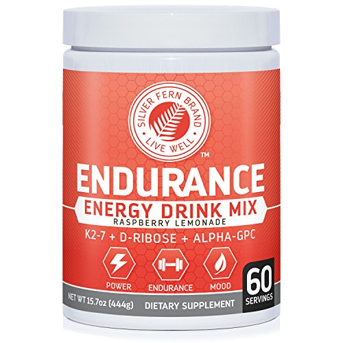 Silver Fern Brand Endurance - Pre Workout Energy Drink Mix Supplement Powder - Raspberry Lemonade - 1 Tub = 60 Servings - Boost Power, Energy & Mood - With D-Ribose, (Endurance Drink)