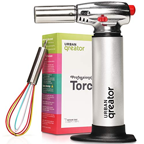 Urban Qreator Multifunctional Kitchen Blow Torch - Professional Refillable Aluminium Culinary Butane Torch with Adjustable Flame- Perfect for Crafts, Painting, Cooking Creme Brulee & BBQ