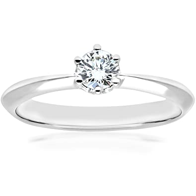 Naava Women's 18 ct White Gold Crossover Solitaire Engagement Ring, F/SI1 EGL Certified Diamond, Round Brilliant, 0.28 ct