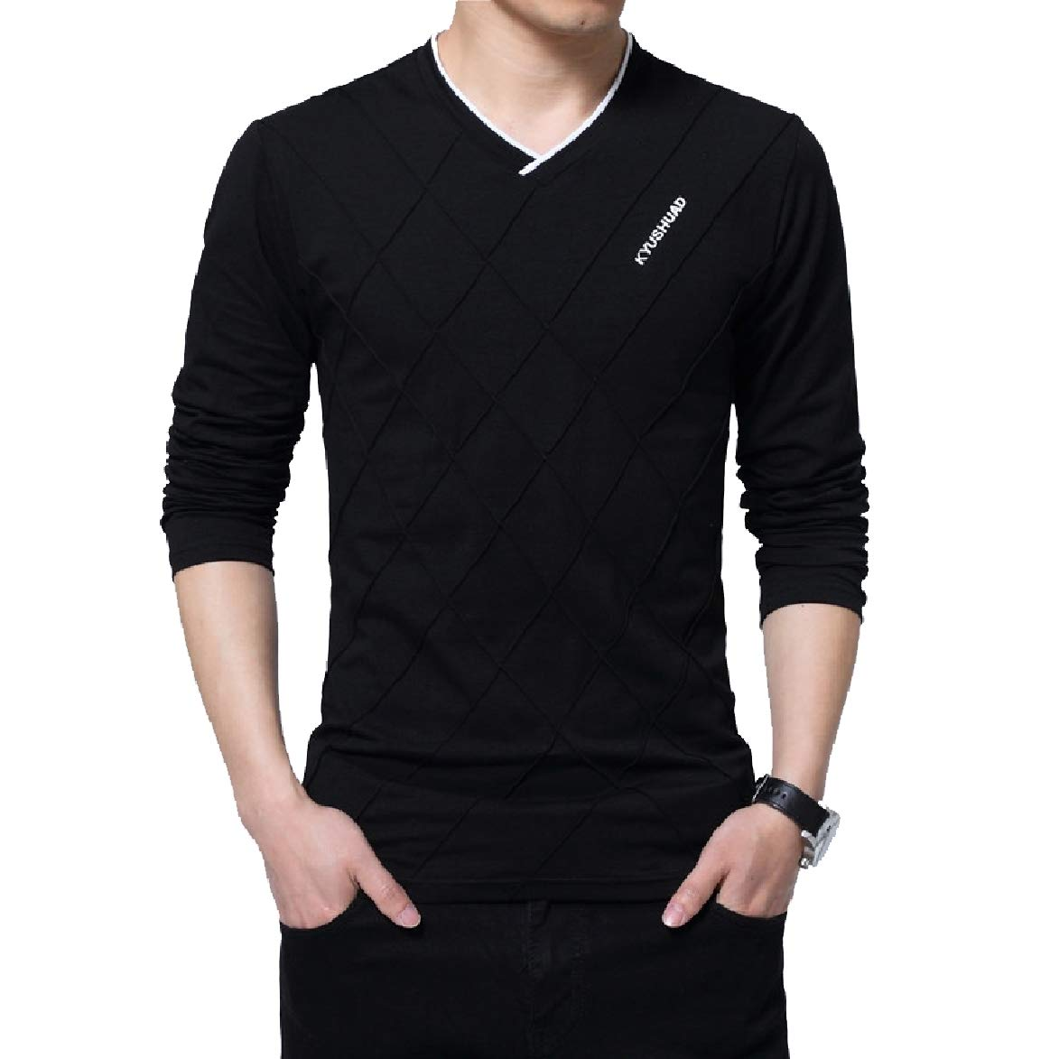 Abetteric Mens V Neck Plus Size Long-Sleeved Printed Solid T-Shirt