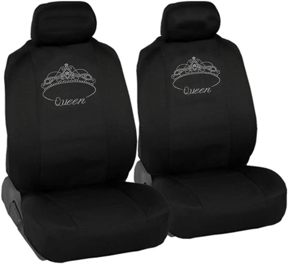 CarsCover Queen Crown Crystal Diamond Bling Rhinestone Studded Car Truck SUV Universal-fit Low Back Seat Covers Driver /& Passenger Set