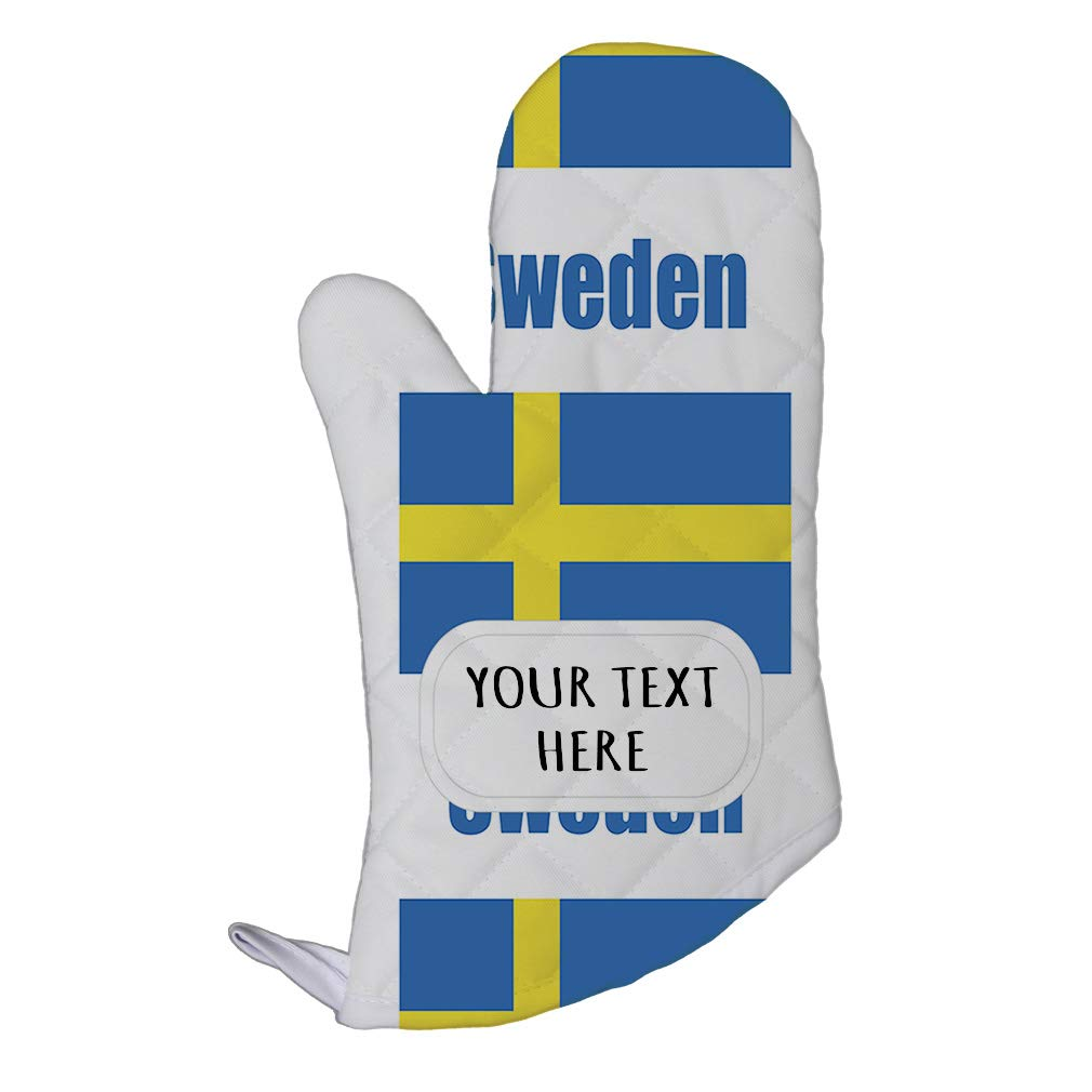 Style In Print Polyester Oven Mitt Custom Sweden Country Flag Pattern Adults Kitchen Mittens