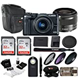 Cheap Canon EOS M6 w/EF-M 15-45mm Lens (Black) + 64GB, Filters, Case & Accessories
