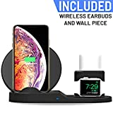 Qi Wireless Charger Stand w/Wireless in-Ear Earbuds (3-in-1) Quick Charging Support for Apple iPhone, Samsung, Watch | Home and Office Desktop | Type C Cable (White)