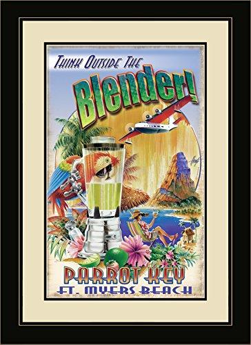 Northwest Art Mall JM-6730 FGDM TOB Parrot Key Fort Myers Beach Florida Think Outside the Blender Framed Wall Art by Artist Jim Mazzotta, 16