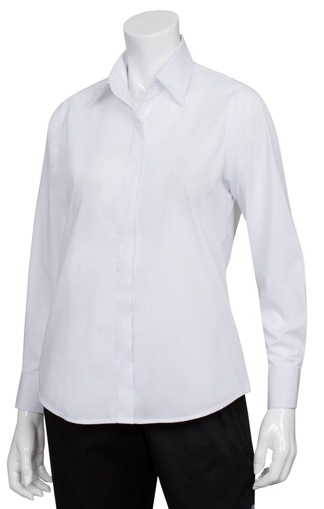 Chef Works Women's Dress Shirt, White, X-Small