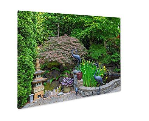Sculpture Garden Metal Iris (Ashley Giclee Metal Panel Print, Home Garden Backyard With Lush Plants Japanese Landscaping Pond Stone Pagoda, 8x10, AG6503752)