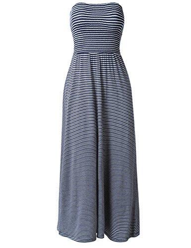 Casual Basic Striped Smocking Tube Stretchy Maxi Long Dresses