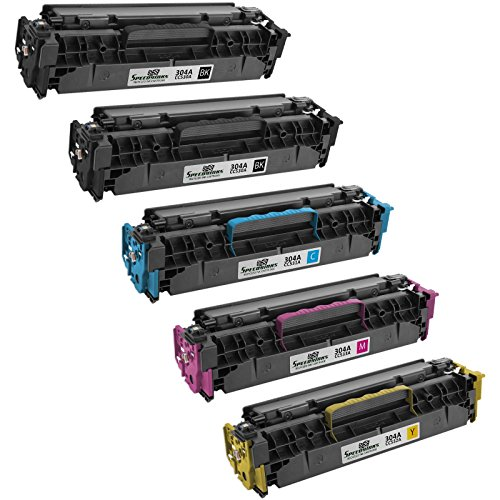Hp Cc531a Cyan Toner (Speedy Inks - 5PK Compatible Replacement for HP 304A 2x CC530A Black, 1ea CC531A Cyan CC532A Yellow CC533A Magenta Toner for use in Color LaserJet CM2320fxi CM2320n CM2320nf CP2025dn CP2025n CP2025x)