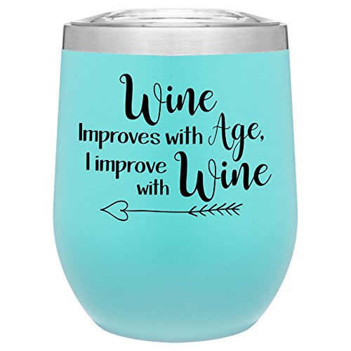 Stainless Steel 12 oz Wine Glass Tumbler with Lid | Double Wall Vacuum Insulated | Powder Coated | Unique Gift Idea for Women | Customized With Funny Sayings (Matte Seafoam Mint)