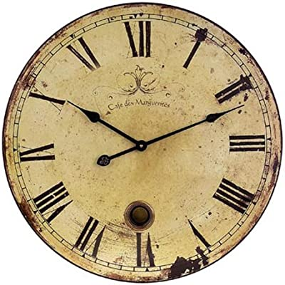 Imax 11 Large Wall Clock with Pendulum - Vintage Style Round