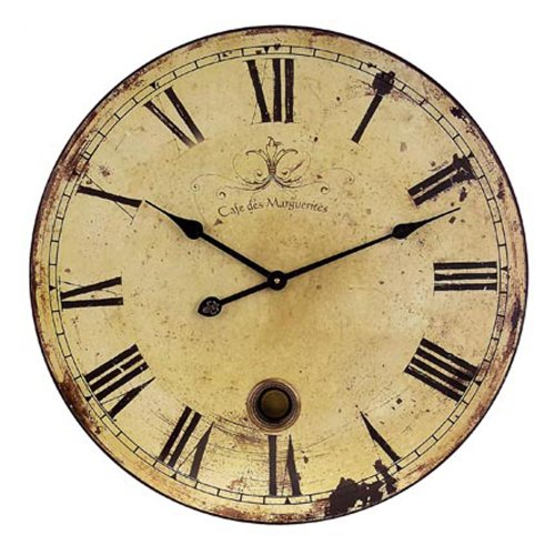 Imax 2511 Large Wall Clock with Pendulum - Vintage Style Round Wall Clock, Wall Decor for Kitchen, Office, Retro Timepiece. Home Decor ()