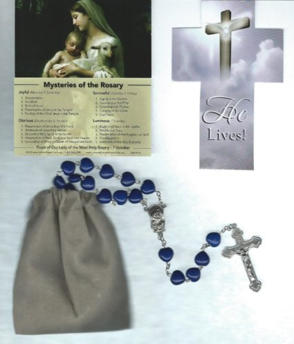 Cat Eye Rosary Crucifix (Blue Crackled Heart Rosary with Our Lady of the Rosary Mysteries Holy Card and Velour Bag)
