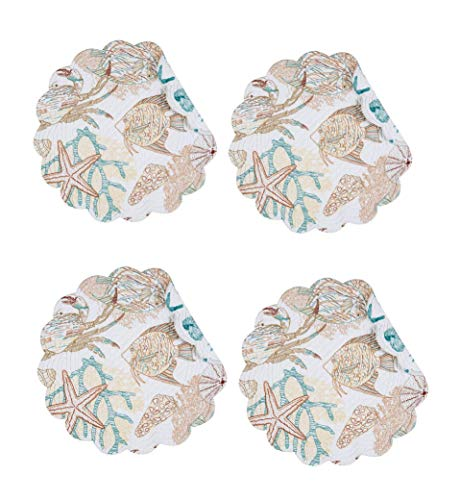 C & F Quilted Products Key Biscayne Collection Round Quilted Placemat-Set of 4 ()