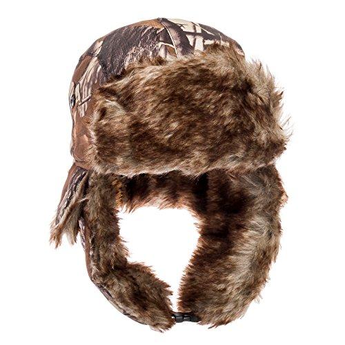 Dakota Dan Mens Woods Camo Trapper Cap Hat w/ Faux Fur Lining (Brown) (Mardi Gras Outfits Ideas)