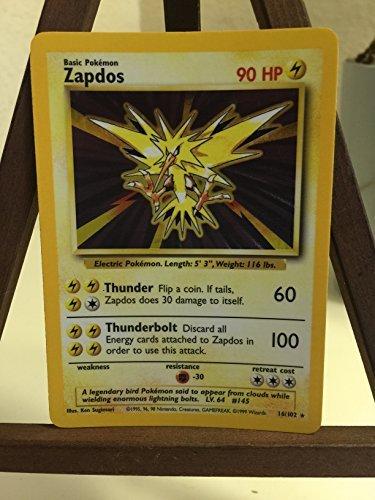 - Pokemon Base Set Holofoil Card #16/102 Zapdos