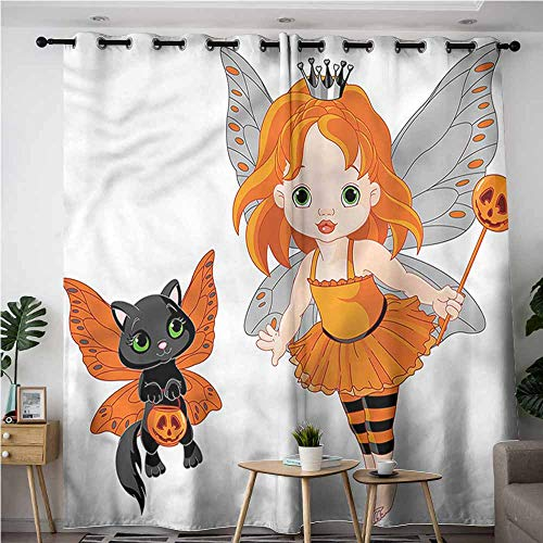 AndyTours Window Curtain Panel,Halloween Baby Fairy and Her Cat,Great for Living Rooms & Bedrooms,W84x72L]()