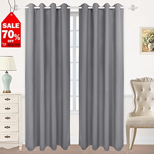 (HOMEIDEAS Blackout Curtains Room Darkening Thermal Insulated Grommet Drapes Bedroom (52 x 84 Inches, Gray, 2 Panels))